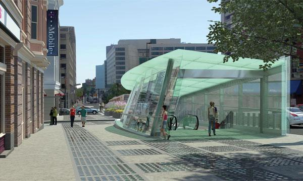 An artist's rendering of a proposed Red Line station at Light and Lombard streets in downtown Baltimore.