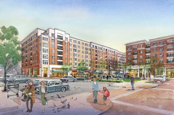 An artist's rendering of a proposed new development at the Rotunda in North Baltimore.