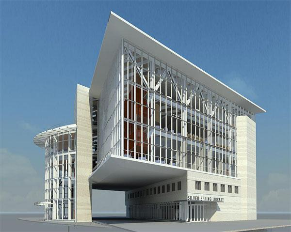 The Silver Spring Library, depicted in a rendering, is slated to be  70,000 square feet with a price tag of $35 million.