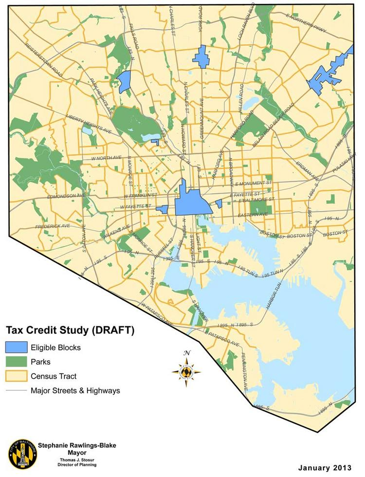 The areas in light blue are eligible for apartment tax credits under Mayor Stephanie Rawlings-Blake's proposed legislation.