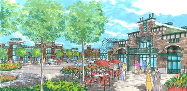 A rendering of Foundry Row in Owings Mills