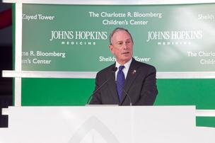 New York City Mayor Michael Bloomberg, who donated $125 million toward the new Johns Hopkins Hospital patient towers, spoke at a dedication event for the project Thursday night in Baltimore.