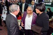 New York City Mayor Michael Bloomberg chats with Mayor Stephanie Rawlings-Blake's mother, Nina, center, and Rawlings-Blake at the dedication ceremony.