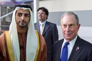 United Arab Emirates' Sheikh Zayed bin Sultan bin Khalifa bin Zayed Al Nahyan, grandson of UAE's first president, poses with New York City Mayor Michael Bloomberg at a dedication ceremony for Johns Hopkins Hospital's new patient towers.