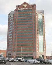 Canton Crossing is anchored by the First Mariner Bank tower.