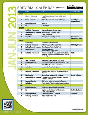 Baltimore Business Journal 2012 Editorial Calendar