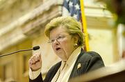 Partisanpolitics: Maryland Sen. Barbara A. Mikulski (pictured) and Sen. Ben Cardin bet Democratic colleagues Sen. Diane Feinstein and Sen. Barbara Boxer Faidley's crab cakes, Berger cookies and and Heavy Seas beer. The Californian delegation put up Dungeness crab, Napa Valley wine, sourdough bread and Northern Californian cheeses.