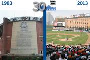 Baltimore Orioles stadium:Then: The O's had their home on 33rd Street in Memorial Stadium.Now: Oriole Park at Camden Yards brings Birdland to downtown Baltimore.