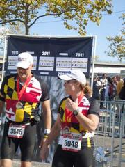 Brooks and Phyllis Robinson, sporting shirts donning the Maryland flag, after completing the 26.2-mile full marathon.