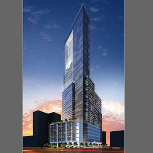 A rendering of Arc Wheeler's proposed 59-story skyscraper along the Inner Harbor.