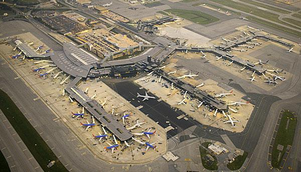 An aerial view of BWI Airport.