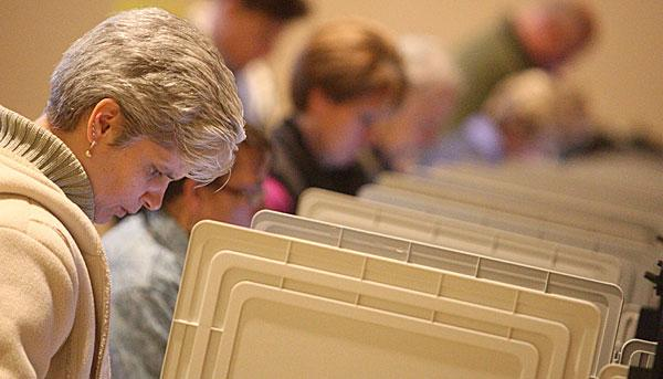 Ann Dowling of Davidsonville casts her vote Tuesday.