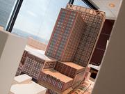 A model of the latest plans for the superblock was on display Tuesday at the Baltimore Development Corp.