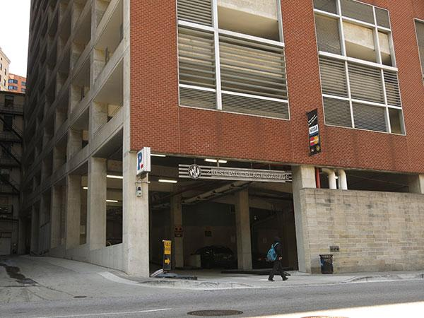 A city garage at 210 N. St. Paul St. downtown.