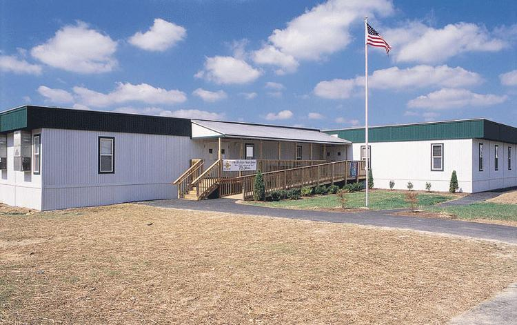 Algeco Scotsman is a provider of modular facilities. Above, a    temporary building at a school in Southern Maryland.