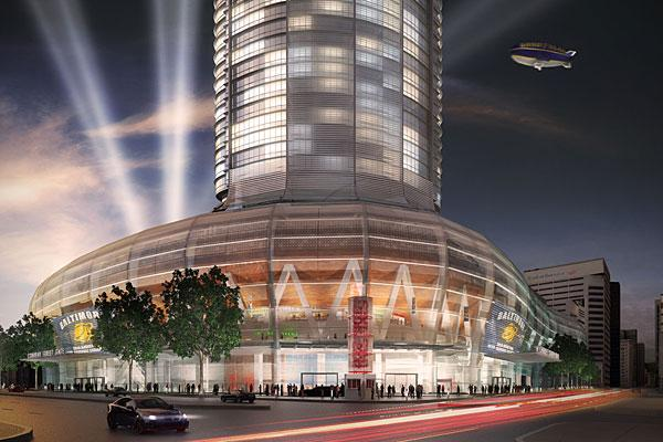 A view of how a proposed new arena hotel would look like from street-level at Conway Street.