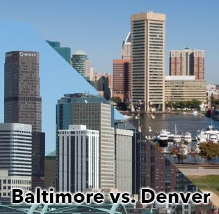 How does Baltimore compare with Denver. Scroll images to see some of their differences.