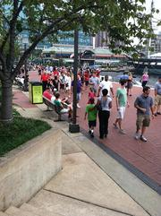 Crowds filled Harborplace's promenade during the race.
