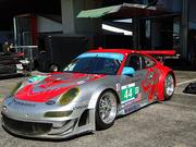 The No. 44 Porsche 911 GT3 RSR from Flying Lizard Motorsports. Drivers are Darren Law and Seth Neiman.