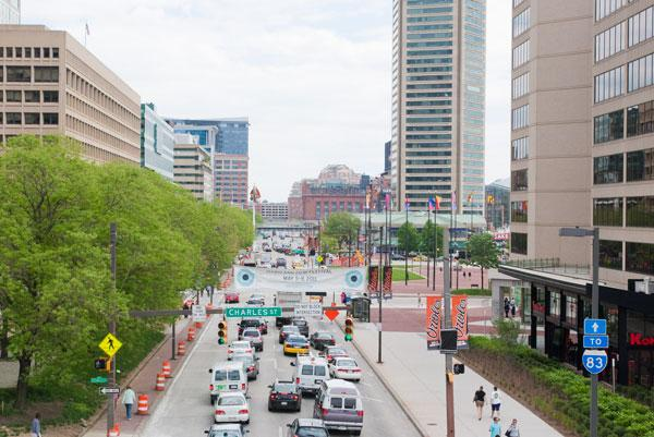 Downtown Baltimore's Pratt Street is part of the Grand Prix race course.