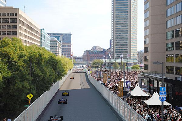 A rendering of what the Baltimore Grand Prix is expected to look like along Pratt Street.