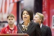 Mayor Stephanie Rawlings-Blake at a Baltimore Grand Prix press conference Friday morning.