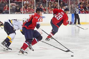 Capitals center Nicklas Backstrom handles the puck during the Baltimore Hockey Classic.