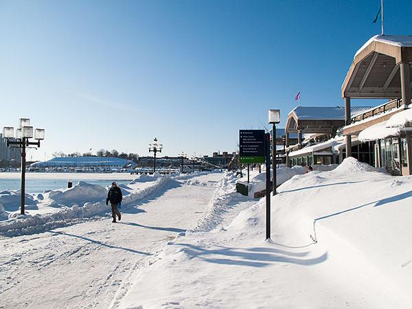 The Inner Harbor covered in snow after a 2010 storm.