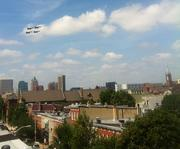 The Navy's Blue Angels over the Baltimore skyline on Sunday.