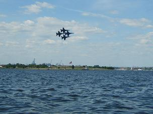 The Blue Angels fly in formation over Fort McHenry.