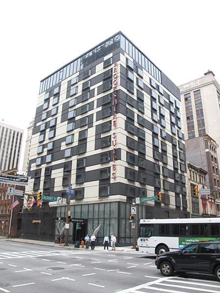 The Brookshire Suites on Lombard and Calvert streets sold for $6 million at auction on Monday.