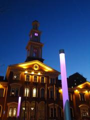 Camden Station downtown glows sports purple in support of the Ravens.
