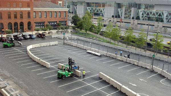 Workers on Tuesday started constructing pit lane outside the Camden Yards Warehouse ahead of this weekend's Grand Prix of Baltimore.