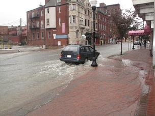 water main break along Charles Street, Baltimore