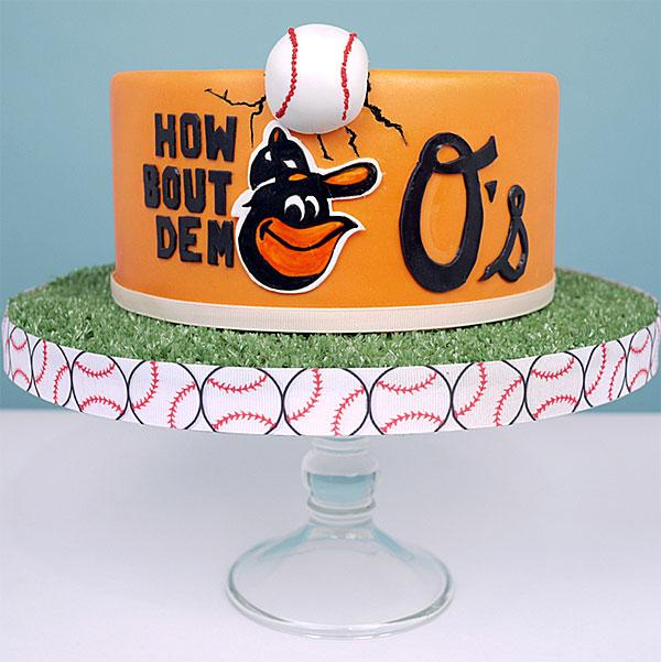 Duff Goldman's new line of smaller cakes can be customized with a sports team's logo, like the Baltimore Orioles.