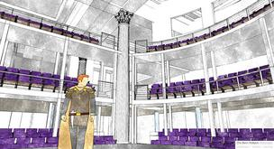 An artist's rendering of the 250-seat Chesapeake Shakespeare Co. theater planned for Redwood Street.