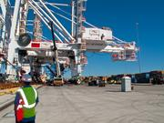 It took about 30 minutes to fully unload the port's newest crane Tuesday.
