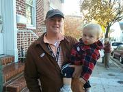 Voter Timothy Morris and his son Jack at the General Wolfe Academy in Fells Point.