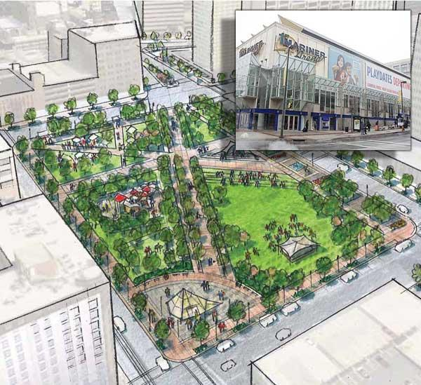 First Mariner Arena, insert, could become a park, as shown in rendering, under a plan unveiled by the Downtown Partnership of Baltimore.