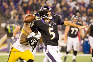 Baltimore Ravens quarterback Joe Flacco in action. His team will face the favored San Francisco 49ers Sunday in the Super Bowl in New Orleans.