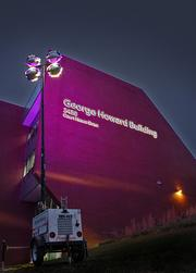 Howard County Government's George Howard Building lights up purple for the Ravens.