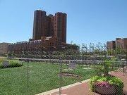 Construction crews have started assembling grandstands for the Baltimore Grand Prix near the Baltimore Vistor Center near Light and Pratt Streets