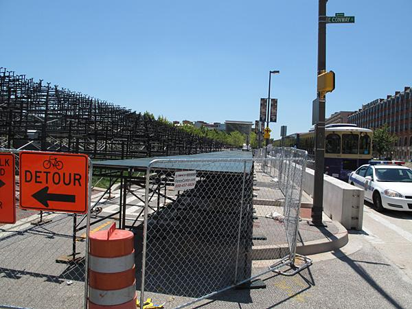 Grandstands for the Baltimore Grand Prix are set up across the Labor Day weekend race's 2.1-mile downtown course.