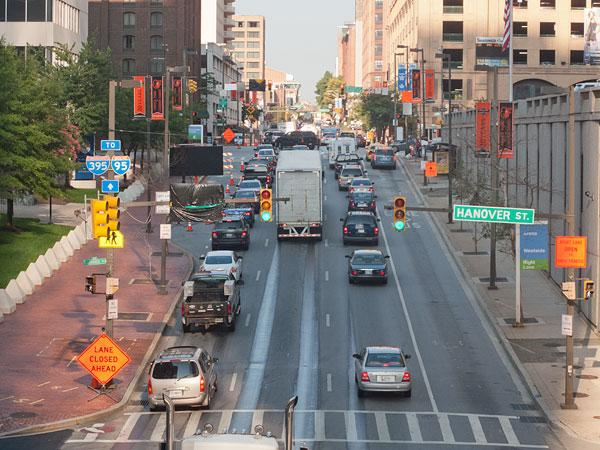 Traffic along Charles Street on Thursday appeared to be lighter compared with last year ahead of the Grand Prix.