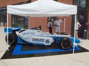 A promotional car for the Grand Prix of Baltimore outside the Sports Legends Museum on Monday.