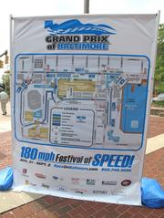 A map on display at the Inner Harbor of the Grand Prix of Baltimore race course.