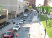 Charles Strett between Pratt and Conway streets turned into one lane on Thursday leading to traffic headaches.