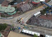 A wreck led to a large pileup of race cars Saturday at the intersection of Pratt and Light streets.