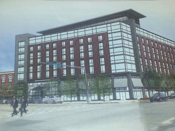This initial rendering of a planned Harbor East hotel was presented to a city panel on Thursday.