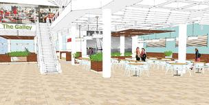 An artist's rendering of a new food court in the Light Street Pavilion.